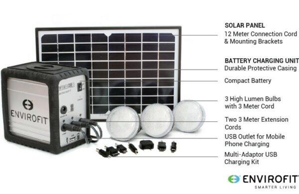 Draagbaar Lichtset op zonne-energie met Accu